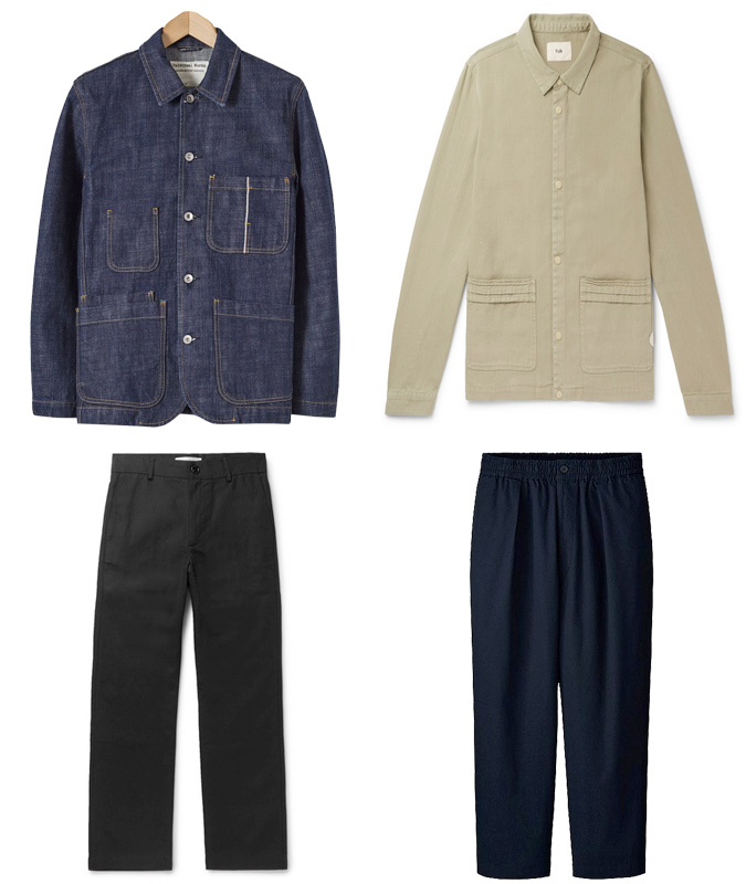 Chore jackets and wide trousers