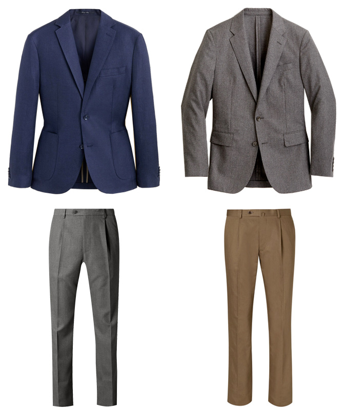 Blazers and pleated trousers