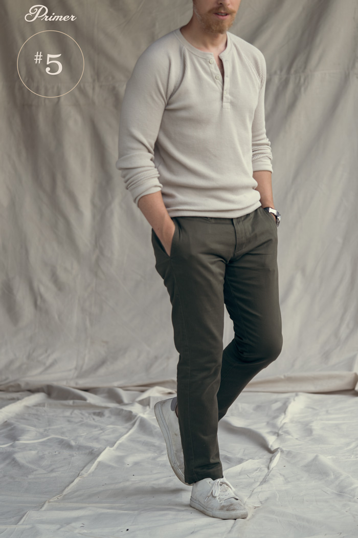 knit henley olive chinos late summer style men