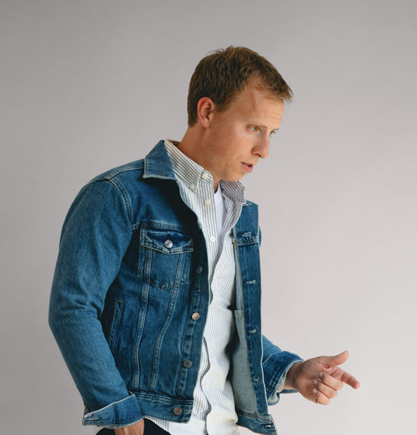 oxford cloth button down with denim jacket