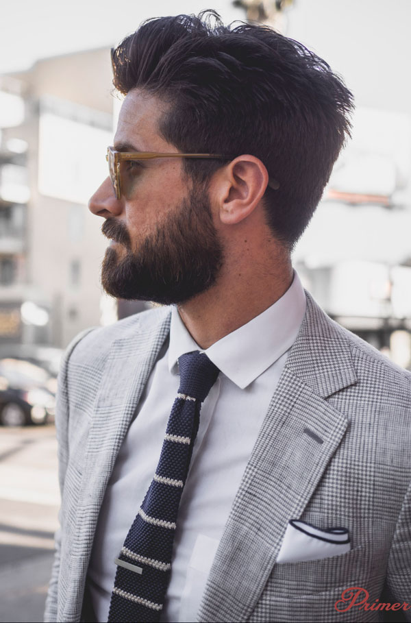 knit tie with spread collar
