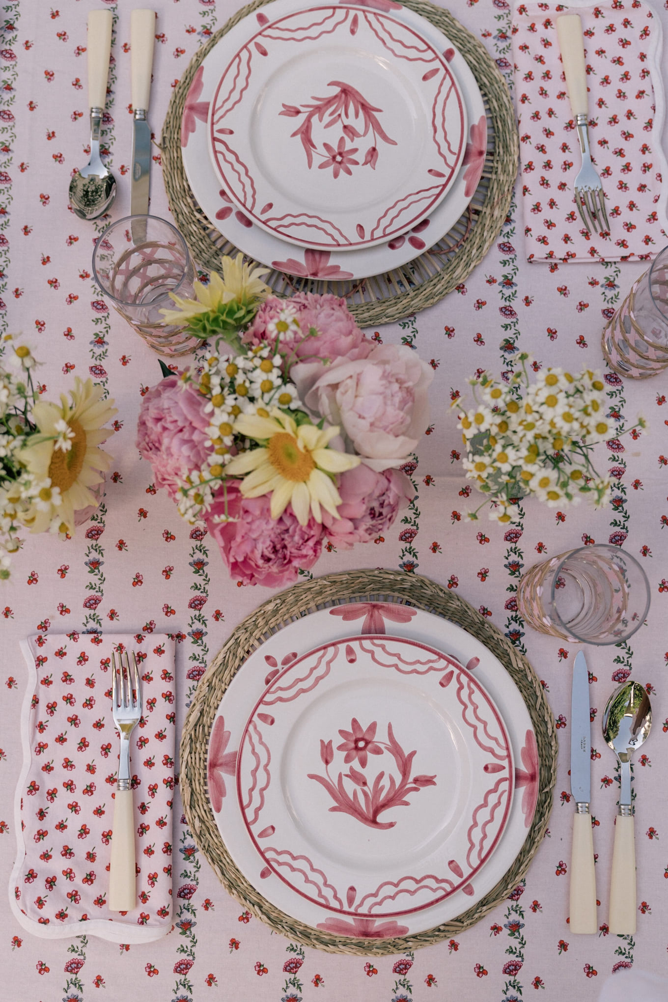 pink floral outdoor decor