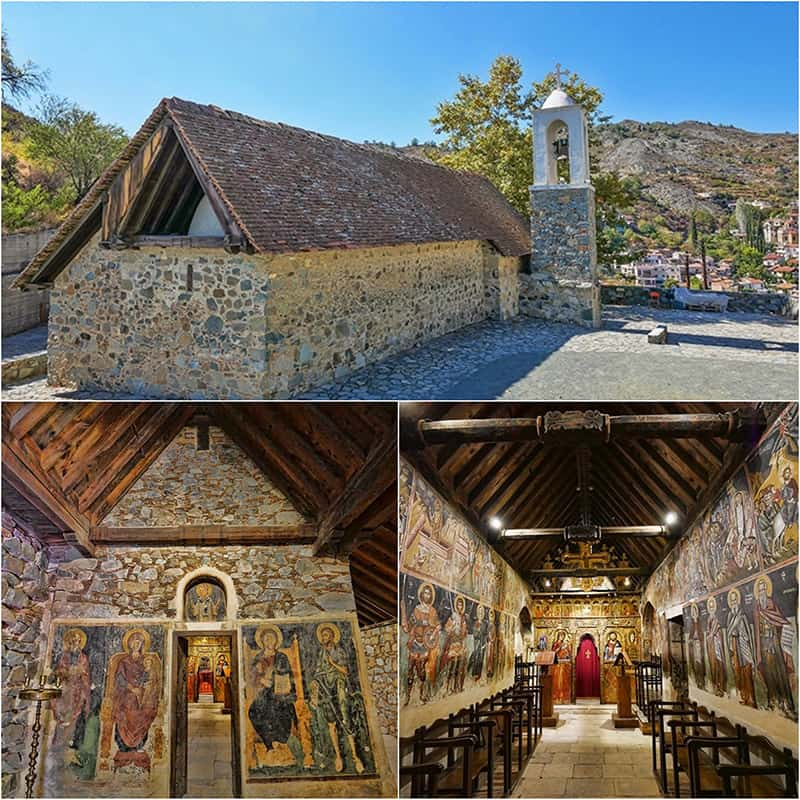 A 16th century UNESCO listed church in the Troodos Mountains, Cyprus