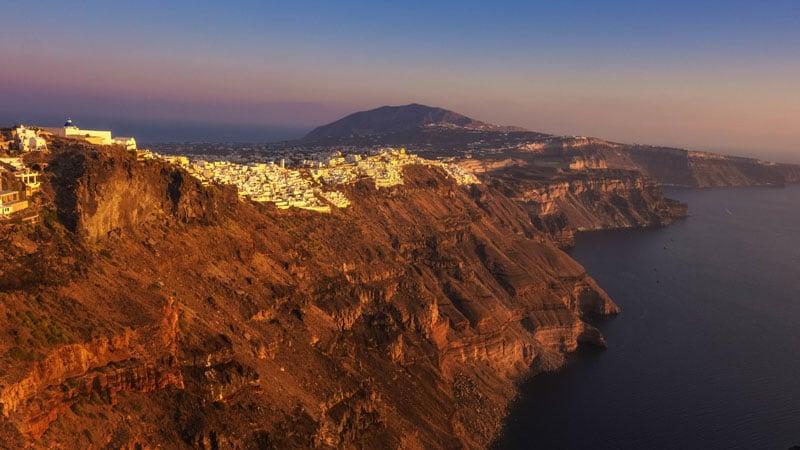 fira cliffs sunset in santorini
