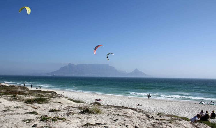 kite surfers at table view area beach in Cape Town