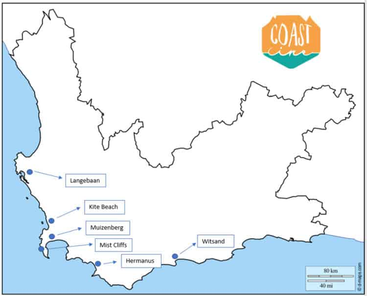 map kitesurfing spots cape town locations