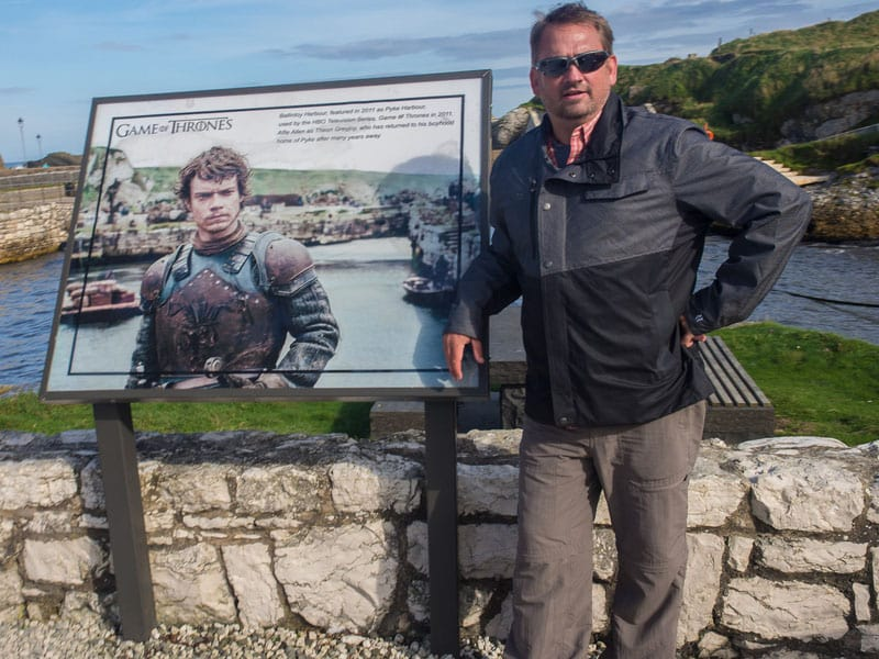 things to do in northern ireland Theon Greyjoy sign at Ballintoy Harbour