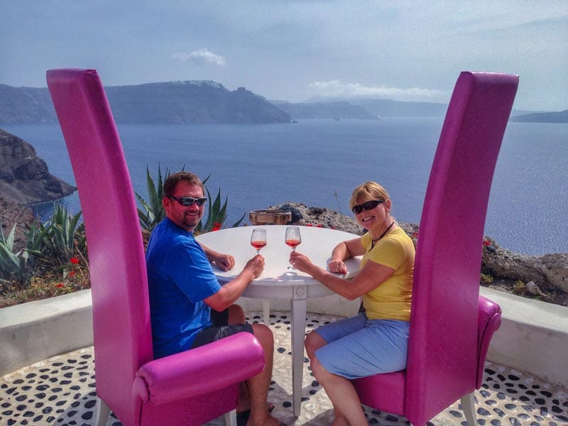 where to eat in santorini with a view