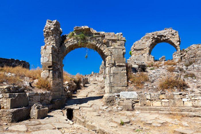 Ruins at Aspendos in Antalya, Turkey photo via Depositphotos