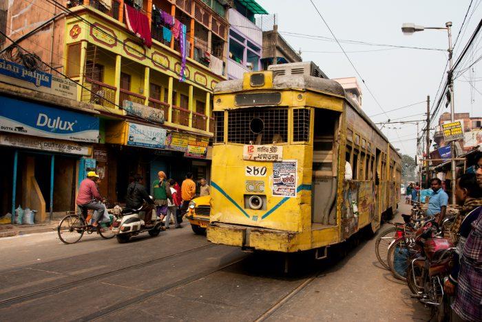Traditional tram downtown Kolkata via Depositphotos
