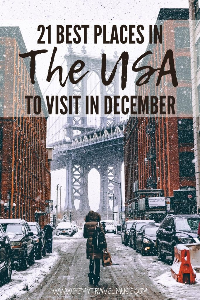 Wondering where to go in the USA this winter? Here are the 21 best places in the United States to visit in December! This list includes a bunch of dreamy, snowy destinations, but also areas that are still warm and full of outdoor adventures. So whether you are planning a Christmas trip or a year-end getaway, this list's got you covered. #USA #December