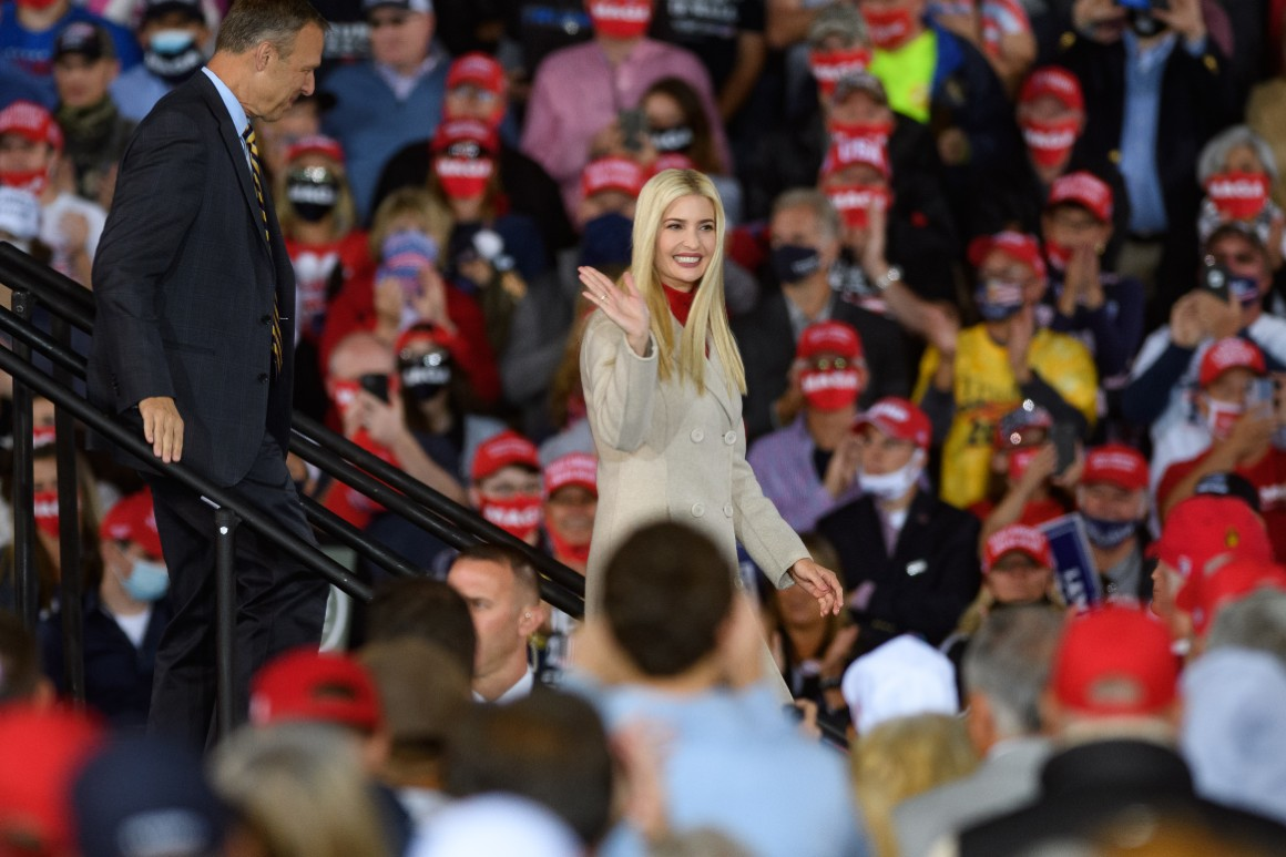 Ivanka Trump waves from the stage as President Donald Trump speaks at a campaign rally at Atlantic Aviation on September 22, 2020 in Moon Township, Pennsylvania.